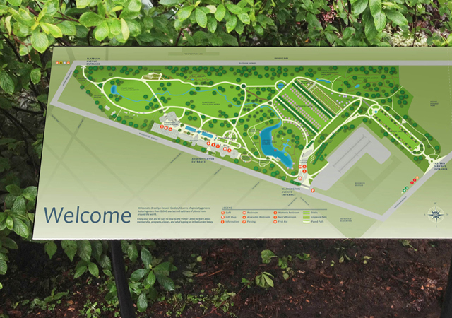 A Comprehensive Orientation, Directional Wayfinding And Mapping System At Brooklyn  Botanic Garden. The New Signs Feature Sleek, Polished Porcelain Enamel ...